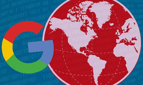 Google icon and Western Hemisphere map, illustration
